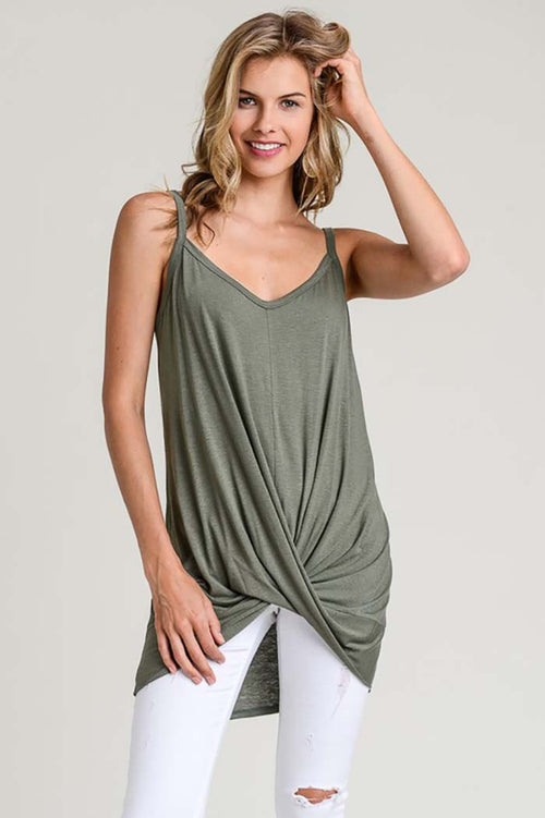 Mia Knit Tank Top With a Twisted Hem : Olive