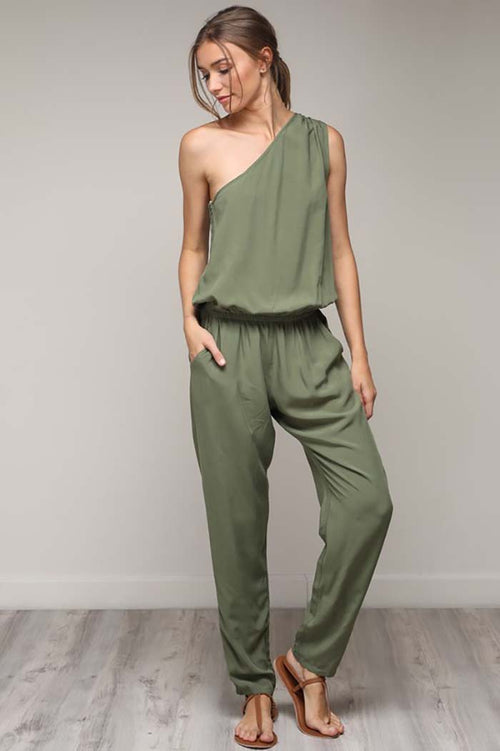 Arianna One Shoulder Jumpsuit : Olive