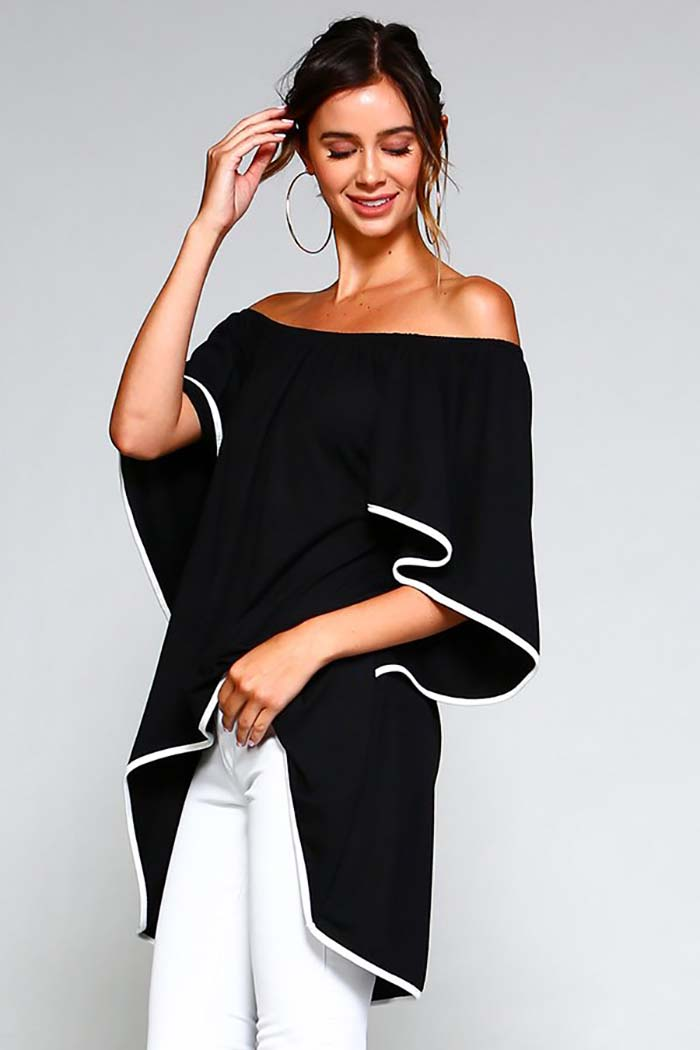 Taylor Off The Shoulder Top : Black