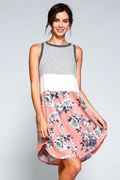 Mary Sleeveless Striped Floral Dress : Coral
