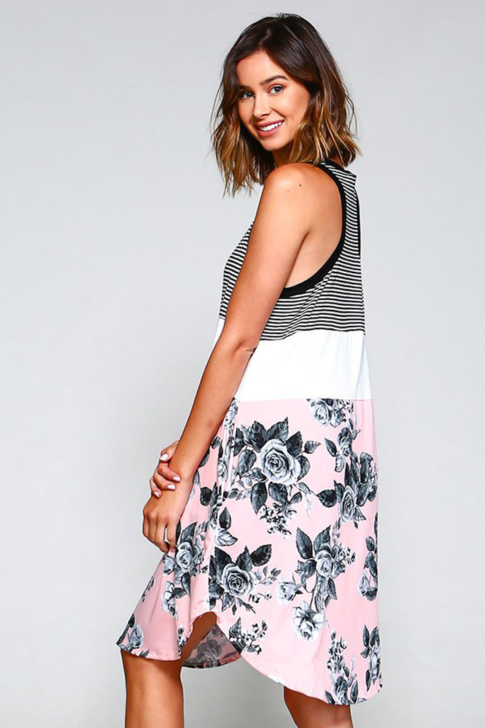Mary Sleeveless Striped Floral Dress : Pink