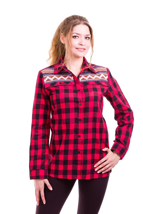 Aztec with Plaid Shirt : Red