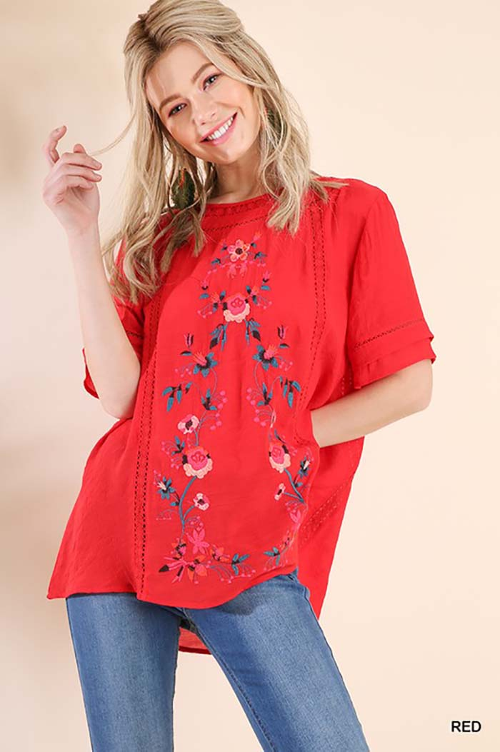 Jenny Embroidered Top : Pink
