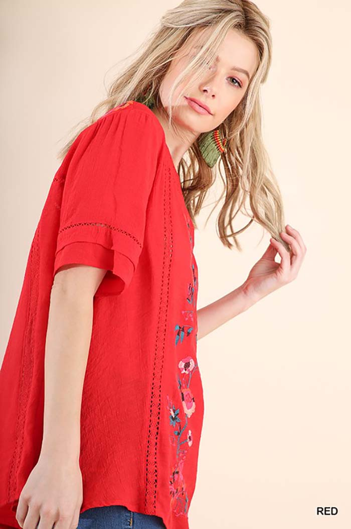 Jenny Embroidered Top : Red