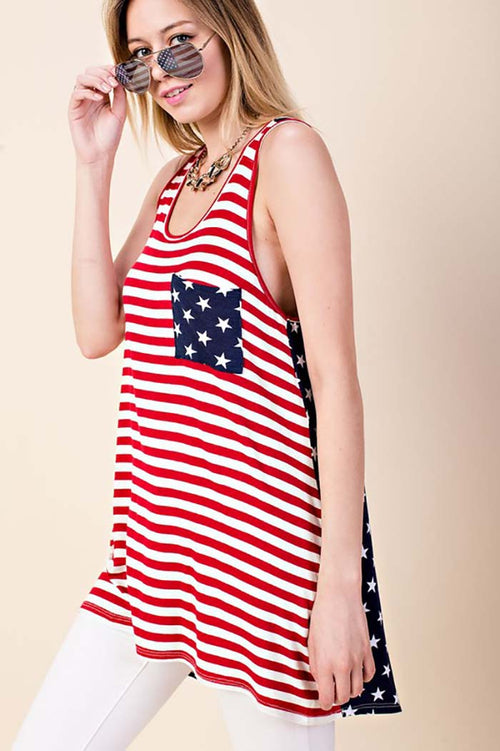 Olivia American Flag Top : Red