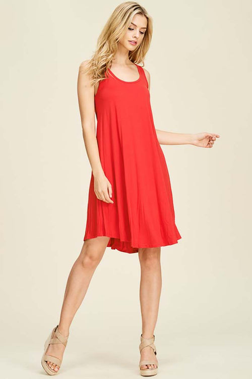 Nevaeh Sleeveless Tank Dress : Red