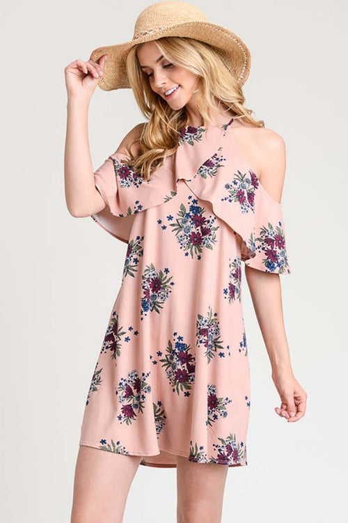 Kennedy Floral Dress With Open Shoulder : Rose