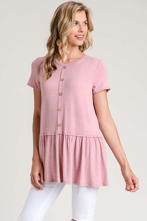 Hailey Wooden Button Tunic Top : Rose