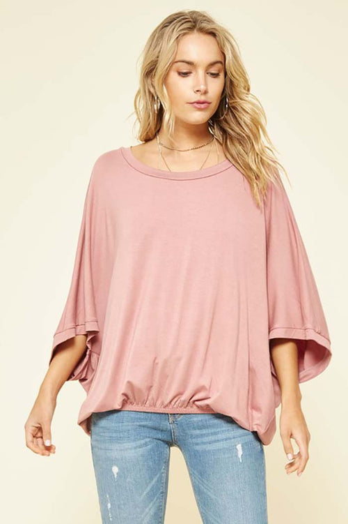 Remi Loose Fit Top With Elastic Hem : Rose Pink