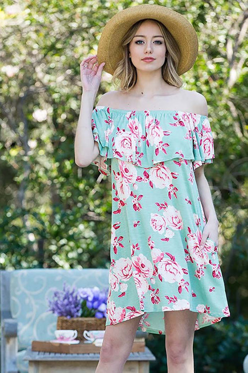 Ellie Off Shoulder Floral Dress : Sage
