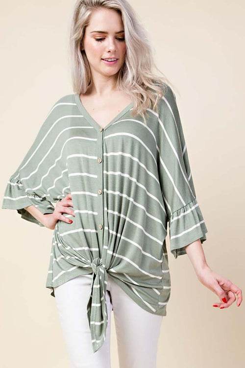 Rowan Ruffle Button Down Top : Sage