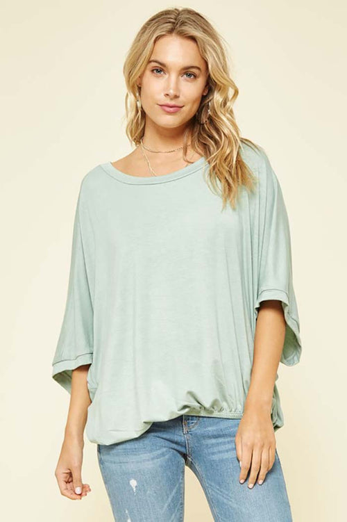 Remi Loose Fit Top With Elastic Hem : Sage
