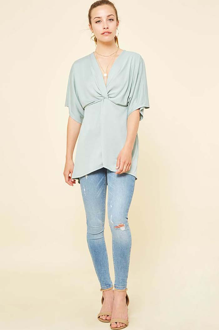 Layla Front Twisted knot Knit Top : Sage