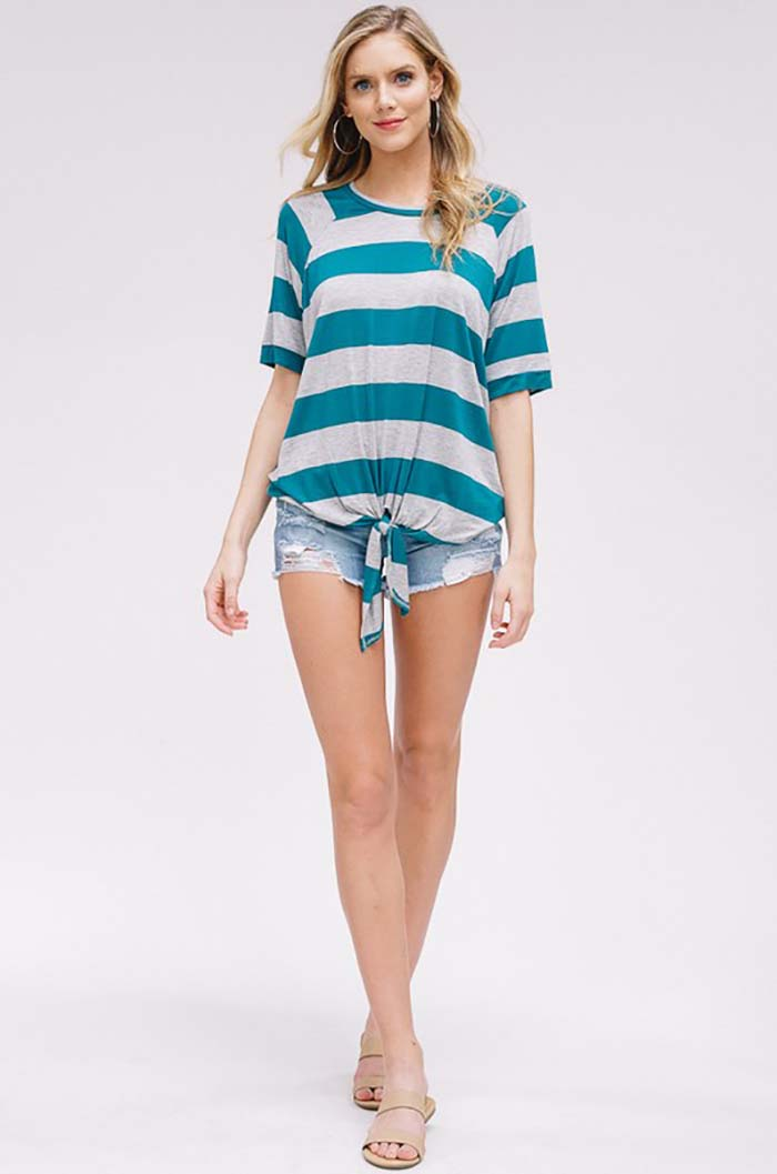Delilah Stripe Knot Front Tie Top : Teal