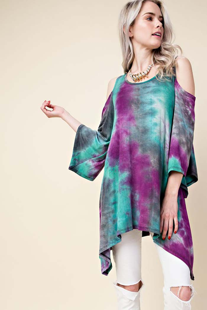 Ivy Tie Dye Tunic Top : Teal