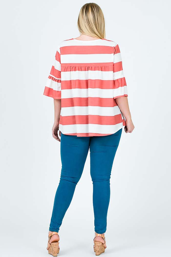 Mary Comfy Tunic Top Plus : Tomato Red