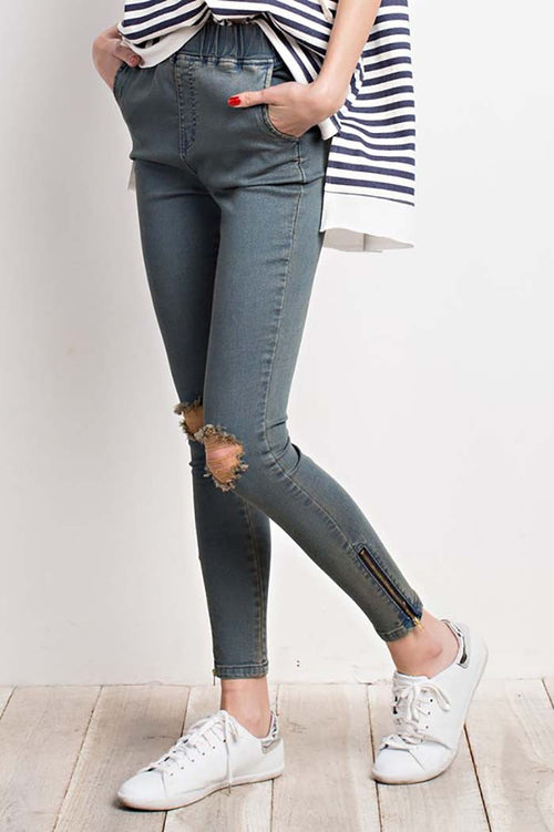 Juniper Elastic Waist Pants : Washed Denim