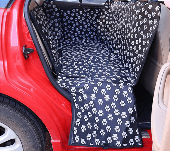 Paw Pattern Car Seat Cover For Dogs - Pet Carriers Oxford Fabric Hammock Seat Protector