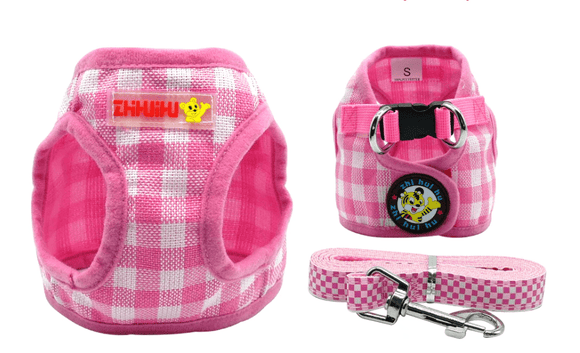 Plaid Dog Harness Vest And Lead - Garden Oasis