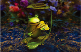 LED Solar Powered Panel Iron Frog Lawn Light