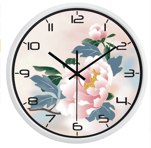Indoor Or Outdoor Peony Flower Wall Clock
