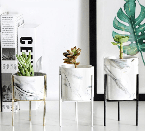 Nordic Style Marble And Iron Ceramic Flower Pots