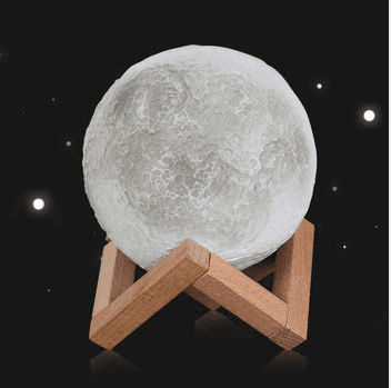 Charming 3D Print Moon Lamp Rechargeable 2 Color Changes Touch Switch - Garden Oasis