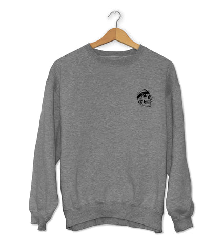 Skull Crew Neck Jumper Grey