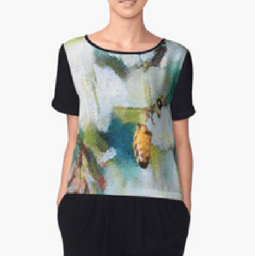 Bee Behind a Flower Chiffon Top