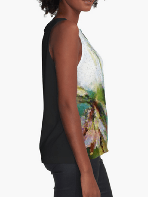 Bee Behind a Flower Contrast Tank Top