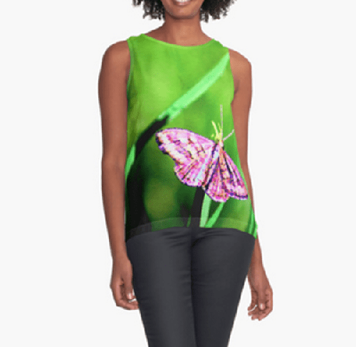 Butterfly on Grass Contrast Tank Top