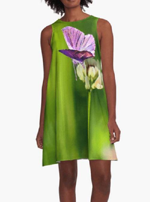 Butterfly on a Flower ALine Dress