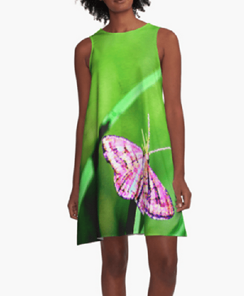 Butterfly on Grass ALine Dress