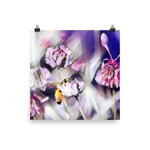 Bee Behind a Flower Poster - JenC Designs