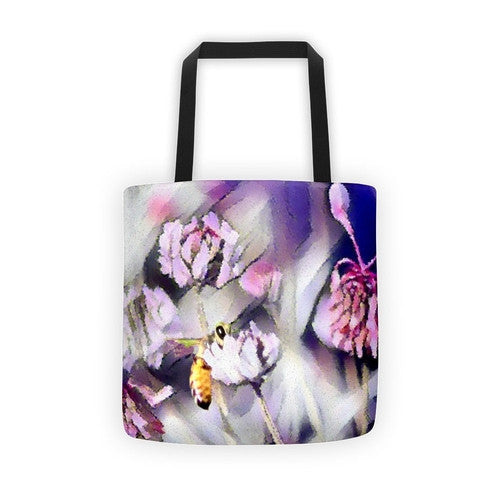 Bee Behind a Flower Tote bag