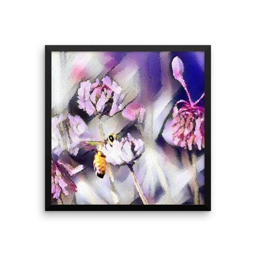 Bee Behind a Flower Framed Poster