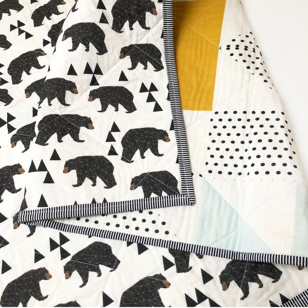 Bear with Me Navy + Mustard Wholecloth Quilt - Made to Order