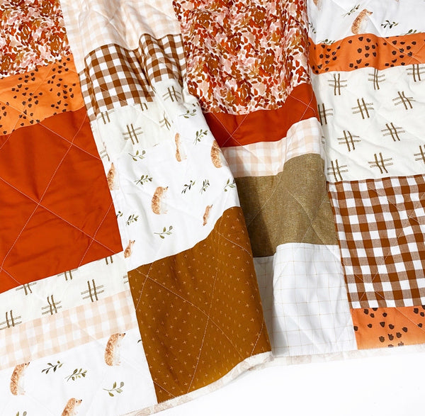 Pumpkin Spice + Everything Nice Patchwork Baby Quilt