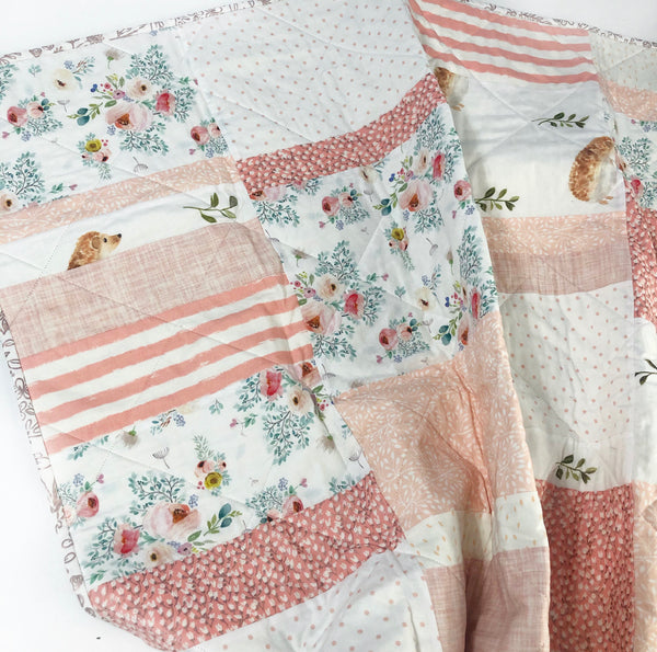 English Breakfast Hedgehogs + Florals Patchwork Baby Quilt