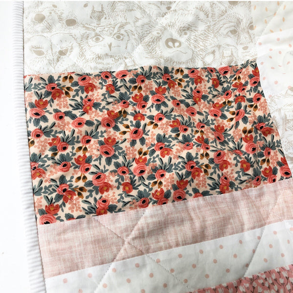 Rifle Paper Co + Woodland Animals Florals Patchwork Quilt