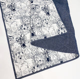 Blue Zoo Wholecloth Quilt - Ready to Ship
