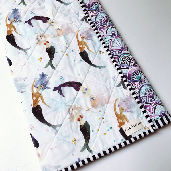Mermaid + Me Wholecloth Baby Quilt - Made to Order