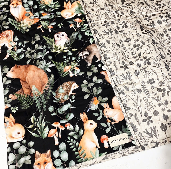 Forest Animals Wholecloth Quilt - Made to Order