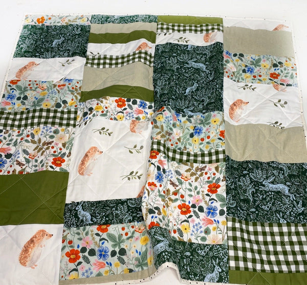 A Hop + Skip Into Spring Patchwork Baby Quilt - Ready to Ship