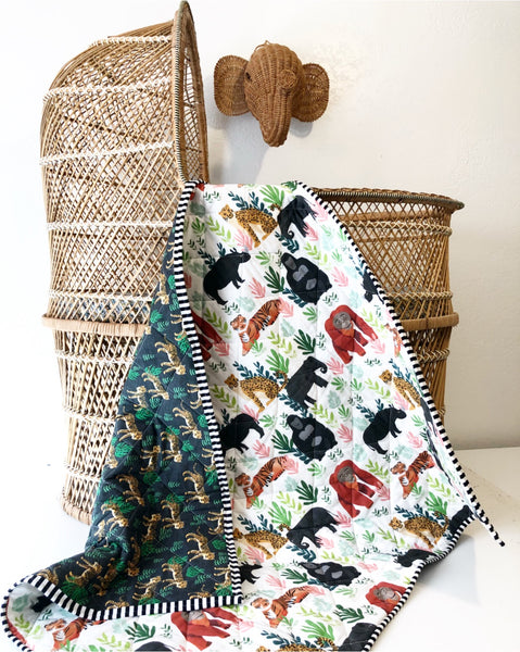 It's a Jungle Out There Safari Wholecloth Baby Quilt