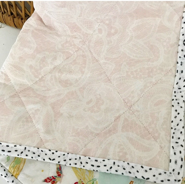 Bunny Prince + Fairy Modern Wholecloth Baby Girl Quilt - Made to Order