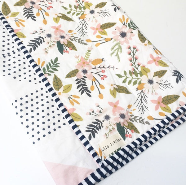 Blush Springs Blooms + Botanicals Wholecloth Quilt - Made to Order