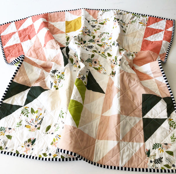 Forest + Blush Puzzlecloth Wholecloth Quilt