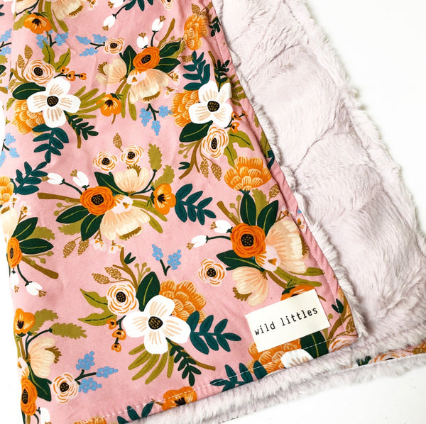Dusty Pink Floral Rifle Paper Co Minky Cuddle Blanket