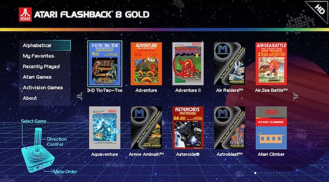 Atari Flashback 8 Gold HD Console Menu interface